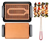 GOTHAM STEEL Smokeless Electric Grill, Griddle, and Pitchfork, Indoor BBQ and Nonstick As
