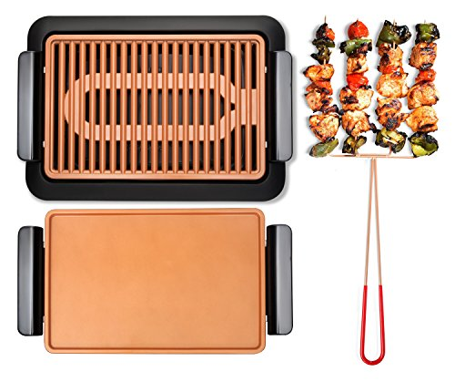 - GOTHAM STEEL Smokeless Electric Grill, Griddle, and Pitchfork, Indoor BBQ and Nonstick As Seen On TV (Large)