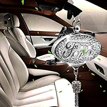 Shenwinfy Car Rearview Mirror Perfume Pendant for Ford Accessory, Car Rearview Mirror Diamond Perfume Air Freshener Hanging Ornament