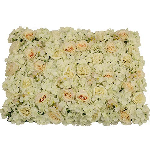 UNIQUE FOREST ARTS 24x16inch(40X60cm) Artificial Silk Rose Hydrangea Flower Wall Decoration Decorative Silk Hydrangea Flower mat Wall for Wedding Backdrop Party Event Decor(Set of 4) (White) (Flowers Large Forest)