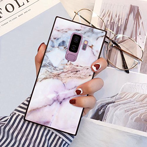Samsung Galaxy S9 Plus Square Edge Case Heavy Duty Protection Shock Absorption Slim Soft TPU Cover Pink Marble Pattern for Samsung Galaxy S9 Plus