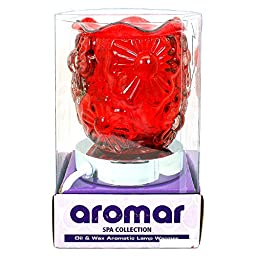 Aromar Spa Touch-Activated Electric Oil Lamp: Aromatherapy Essential Oil & Wax Burner / Warmer / Diffuser With High-Powered 50-Watts Dimmable Halogen Bulb: Red Flower Garden