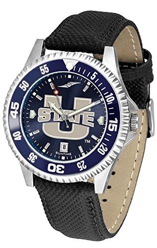 Utah State University UTU Leather Watch Suntime AnoChrome Logo Timepiece