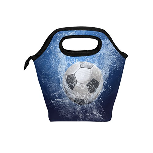 Naanle Sport Soccer Insulated Zipper Lunch Bag Cooler Tote Bag for Adult Teens Kids Girls Boys Men Women, Sport Lunch Boxes Lunchboxes Meal Prep Handbag for School Office by Naanle