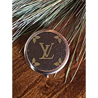 Handcrafted compact mirror fashioned with authentic repurposed Louis Vuitton monogram canvas