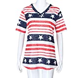 Womens Short Sleeve Patriotic Blouse with USA