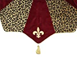 54'' Diva Safari Elegant Leopard Print, Burgundy and Fleur de Lis Christmas Tree Skirt