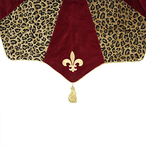 54'' Diva Safari Elegant Leopard Print, Burgundy and Fleur de Lis Christmas Tree Skirt by GALLERIE II (Image #1)