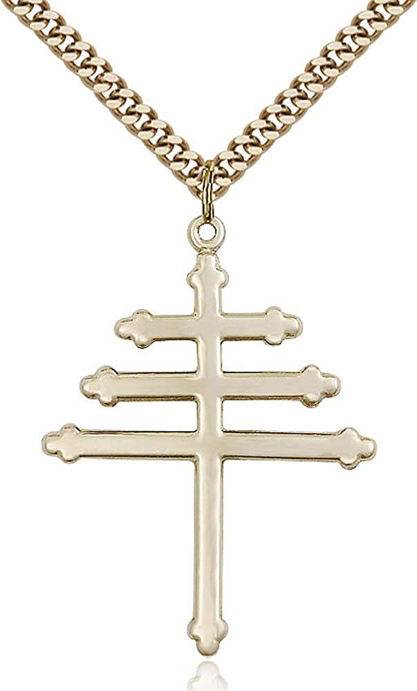 14kt Gold Filled Marionite Cross Pendant Gold Plate Heavy Curb Chain Patron Saint 1 1//2 x 1 1//8