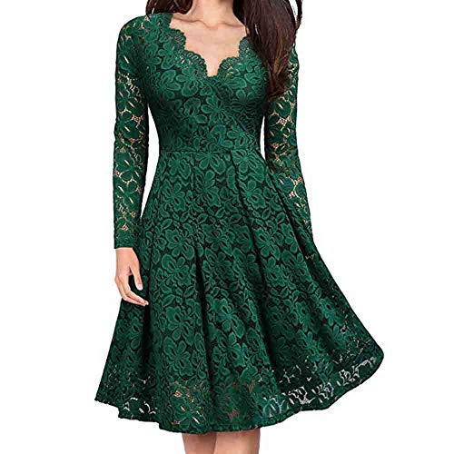 Women V-Neck Lace Long Sleeve Dress Formal Evening Party Cocktail A-line Dress