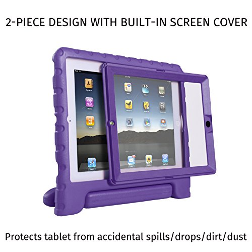 HDE Case for iPad 2 3 4 Kids Shockproof Bumper Hard Cover Handle Stand with Built in Screen Protector for Apple iPad 2nd 3rd 4th Generation (Purple)