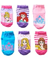 Disney Princess Little Girls' Character Socks 6 Pack Size 2T-4T
