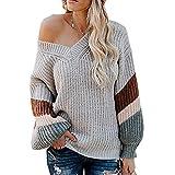 JOYFEEL Women's V Neck Long Sleeve Waffle Knit Shirt Tops Off Shoulder Loose Fit Pullover Shirts