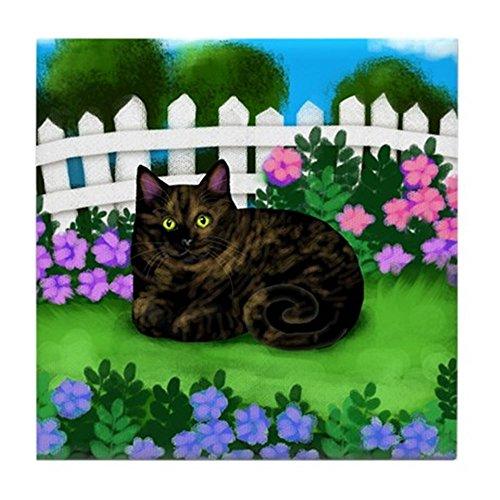 - CafePress - Tortoiseshell Cat Garden Tile Coaster - Tile Coaster, Drink Coaster, Small Trivet