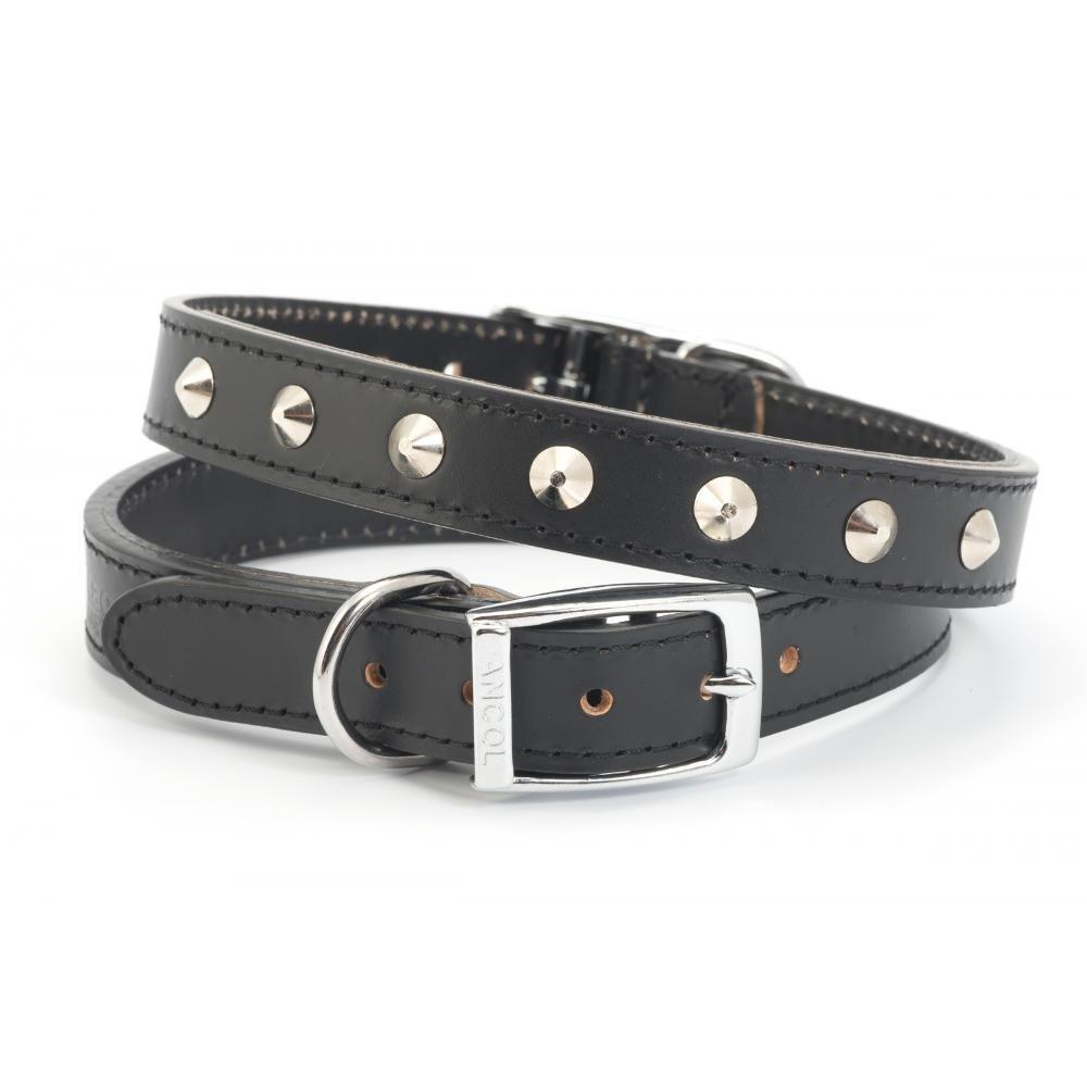 Ancol Heritage Leather Sewn Studded Collar Black 55cm 22 Sz 6