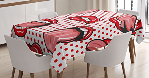 Modern Tablecloth by Ambesonne, Pop Art Style Sexy Kiss Woman Lips Mouth Figures on Polka Dots Vintage Graphic, Dining Room Kitchen Rectangular Table Cover, 60W X 84L Inches, Red White (Sexy Women Themes)