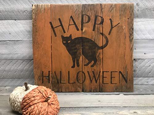 Happy Halloween Black Cat Reclaimed Wood Pallet Sign Home Decor -