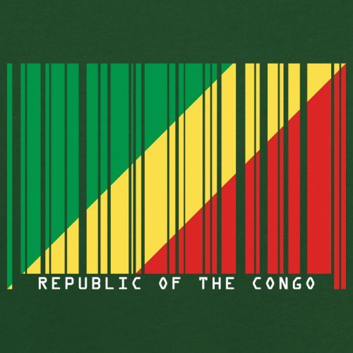 Republic of the Congo / Republik Kongo Barcode Flagge - Herren T-Shirt - Flaschengrün - L