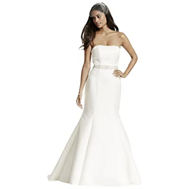 b804c2049a9 David s Bridal Strapless Trumpet Wedding Dress with Ribbon Waist Style  WG9871 at Amazon Women s Clothing store