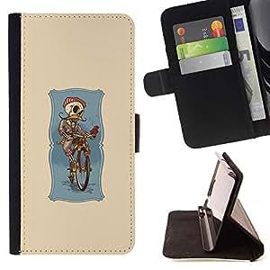 Momo Phone Case / Flip Funda de Cuero Case Cover - Aquarelle drôle Sketch Skull - Sony Xperia M5