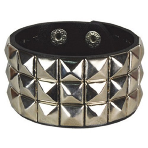 (Retro Black and Silver 3 Row Pyramid Studded Wristband)