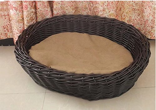 Willow Deck (Natural Double-deck Rattan Hand Weaving Pet Nest With The Mat, Pure Willow Double Weaving,Different Sizes Are Suitable For Different Dog Cat And Other Animals)