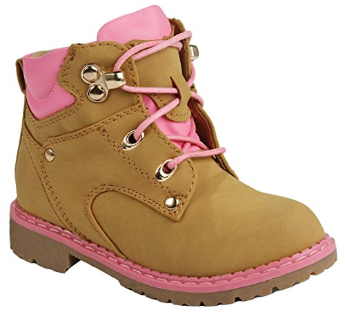 Baby Girls Broadway Camel/Fuchsia Toddler Faux Nubuck Two Tone Lace Up Padded Collar Ankle Combat Work Boots-4