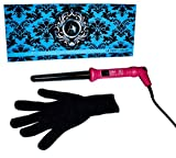 ATALI Curler 18/25mm with Glove Dual Voltage American Plug 110-240V 60Hz, Hot Pink