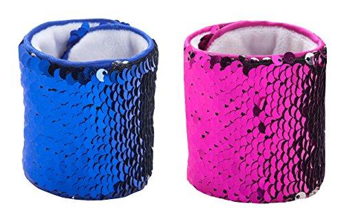 ROOSSI Personalized Reversible Sequins Velvet Lining Mermaid Bracelet Set of 2 PCS B