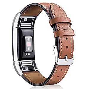 [Most Viewed]for Fitbit Charge 2 Replacement Bands, Hotodeal Classic Genuine Leather Wristband with Metal Connectors, Fitness Strap for Women Men Small Large, Brown