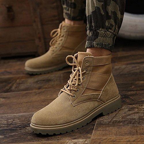 Hombres Botas de Martin caliente calza los zapatos Otoño de invierno zapatos Botas de Combate Botas de Moto Marrón