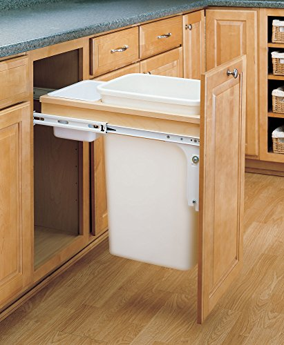 Rev-A-Shelf - 4WCTM-1550DM-1 - Single 50 Qt. Pull-Out Top Mount Wood and White Waste Container for 1-1/2 in. Face Frame Cabinet