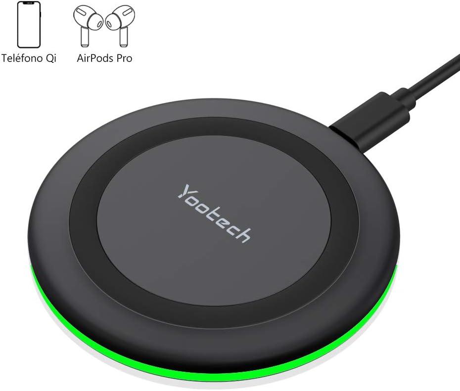 yootech Cargador Inalámbrico Rápido, 7.5W Carga Inductiva para iPhone SE 2020/11/11 Pro/11 Pro MAX/XS MAX/XR/XS/X/8+/8, 10W para Galaxy S20/Note 10/S10/S10e/S9/Note 8/S8/S7, AirPods Pro(NO Adaptador)
