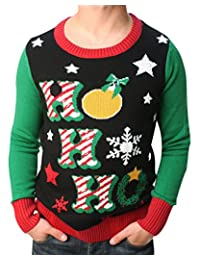 Ugly Christmas Sweater Teen Boy's Ho Ho Ho LED Light Up Sweater