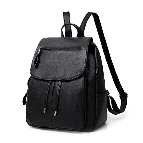 Girls Leather Pure Shoulder Style Preppy Backpack PU Soft Widewing Bags Travel Women F0qw4SA