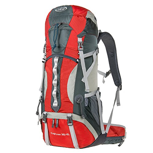 G4Free 50L+5L Outdoor Sport Water-resistant Internal Frame Backpack Hiking Backpack Backpacking Trekking Bag with Rain Cover for Climbing,camping,hiking,Travel and Mountaineering(Red)