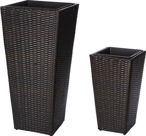 Gartenfreude 4000-1051-022 Plant Pot Covers Plastic Wicker 37 x 37 x 77 cm / 28 x 28 x 51 cm with Waterproof Plastic Insert Two-Tone Brown