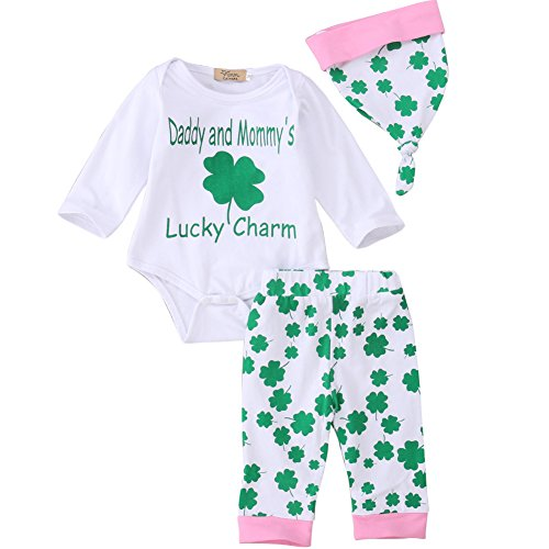 Baby Girls St. Patricks Day Outfits Clover Bodysuit+Long Pant+Hat 3PCS Clothing Set (Green, 6-12 Months) -