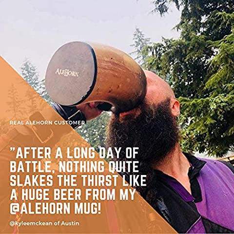 AleHorn Viking Drinking Horn – Genuine Ox Horn Tankard for Ale & Mead – Food-Grade Medieval Style Mug – Handcrafted…