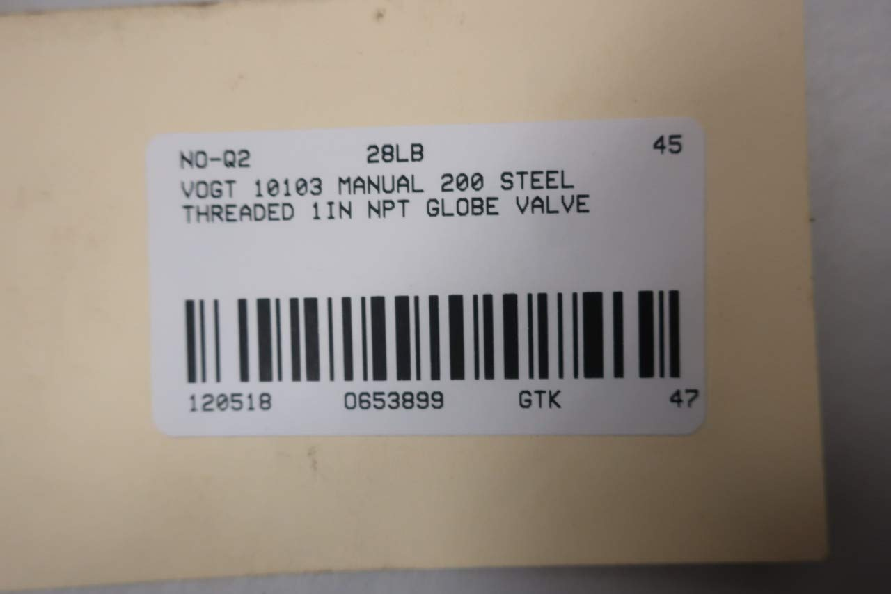 VOGT 10103 Manual 2000 Steel 1IN NPT Globe Valve D653899
