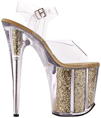 Flamingo C Scarpe Pleaser Tacco Donna 808g Trasparente G Glitter Clr Gold col FvfRxdq