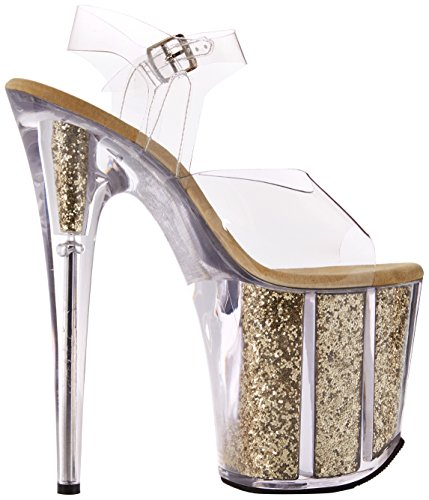Flamingo Pleaser clr Glitter gold Femme 808g Ouvert Transparent Bout g C fxwqwdAS