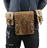 JACKDAINE Casual Women's Steampunk PU Brown Cosplay Retro Pockets Pockets