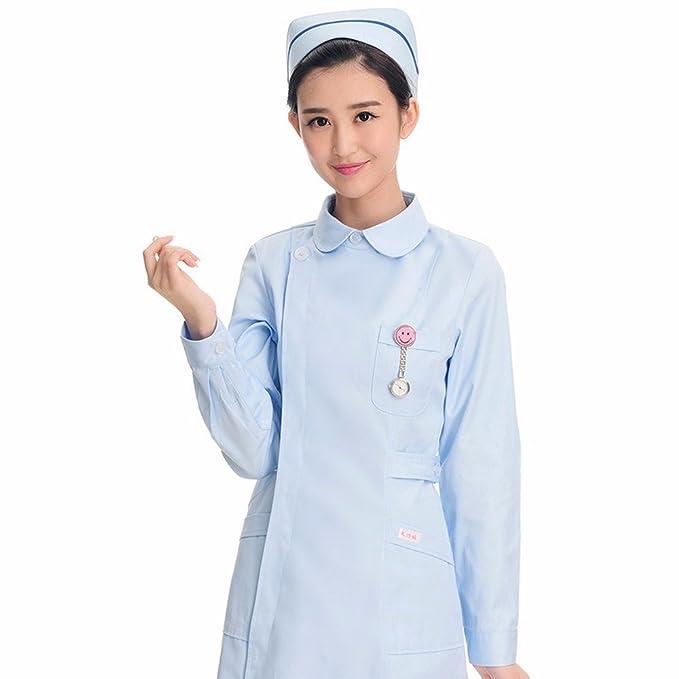 Xuanku Manga Larga Azul Enfermera Invierno Salón De Belleza Farmacia Overoles Blancos: Amazon.es: Ropa y accesorios