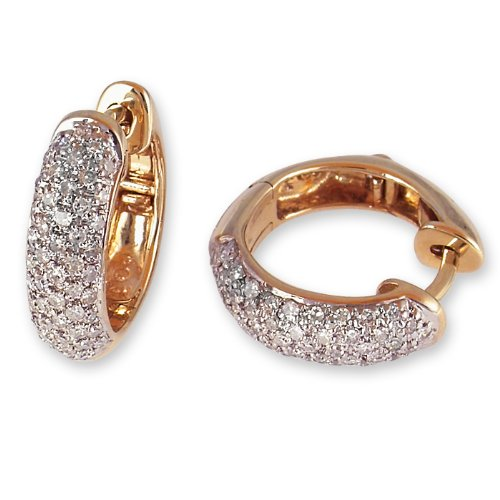 Diamond Antique Earring - 1/2 Carat Pave Set Diamond Hoop Earrings in Yellow Gold (with Safety Lock)