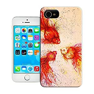 Unique Phone Case Illustration art Chinese graffiti artist and painter Hua Tunan creates three fantail goldfish with splatters Hard Cover for iPhone 4/4s cases-buythecase
