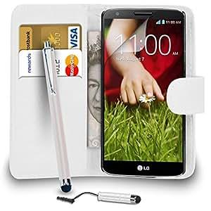 LG G2 D802 Blanco PU Cartera de cuero del caso del tirón de la cubierta Pouch + Mini Touch Stylus Pen + Grandes Touch Pen Stylus + Protector de pantalla y paño de pulido ALEGRÍA POR MOBILE JOY