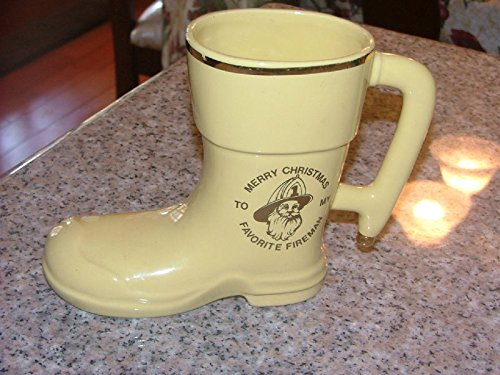 "Ceramic Boot "" To My Favorite Fireman"" Lewis Pottery"