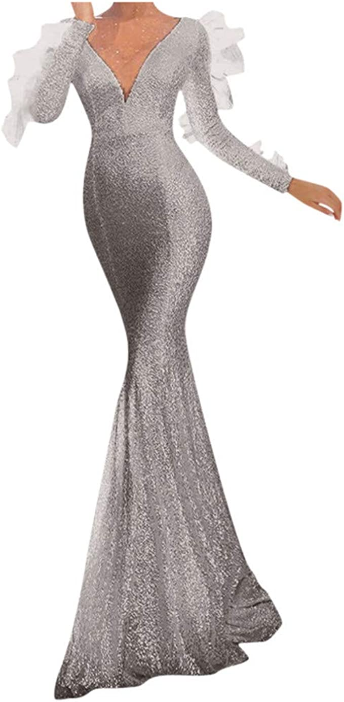 MAYOGO Abendkleider Damen Lang Fishtail Meerjungfrau Kleid
