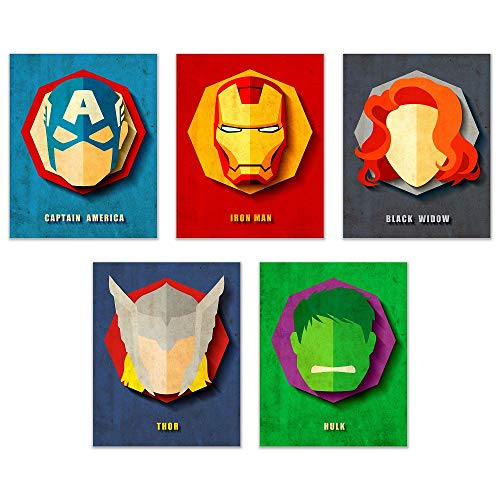 - Infinity Creations Avengers Superheros Set of 5: Captain America, Iron Man, Black Widow, Thor, and Hulk, Unframed Poster Prints (8
